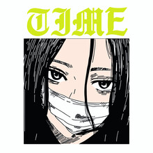 Hand Drawn Manga Face With Mask Vector Design For T-shirt Graphics, Banner, Fashion Prints, Slogan Tees, Stickers, Flyer, Posters And Other Creative Uses