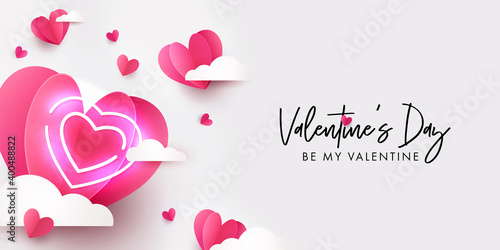 Obraz Valentines Day modern design for website banner, Sales, Valentine card, flyer or poster in paper cut style with cute flying Origami Hearts over clouds and neon lighting heart on white background - fototapety do salonu