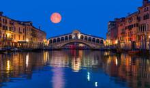 "Gondola Near Rialto Bridge With Full Moon - Venice, Italy ""Elements Of This Image Furnished By NASA"""