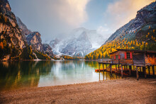 Attractive View Of Most Famous Alpine Lake Braies (Pragser Wildsee).