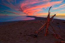 A Small Structure Made Of Branches And Twigs Sits On A Narrow Beach At Point Pelee National Park In Ontario, Looking Towards The Southernmost Point In Mainland Canada During A Beautiful Sunset..
