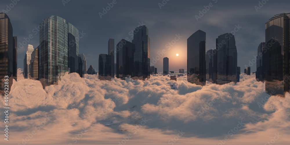 Fototapeta cityscape in the clouds, HDRI, environment map , Round panorama, spherical panorama, equidistant projection, panorama 360