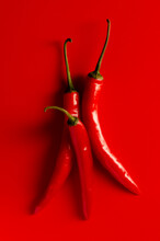 Red Hot Chili Peppers On Red Background Top View