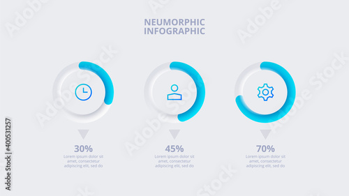 Fototapeta Neumorphic elements for infographic. Template for diagram, graph, presentation and chart. Skeuomorph concept with 3 options, parts, steps or processes obraz