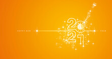 New Year 2021 Countdown Line Design Firework Champagne White Orange Yellow Background Vector