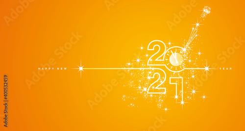 New Year 2021 countdown line design firework champagne white orange yellow background vector