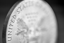 Isolated Close Up Macro Of A One Ounce .999 US Silver Eagle Coin