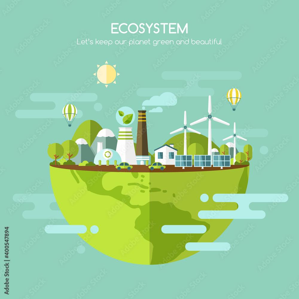 Fototapeta Ecology concept, ecosystem vector illustration