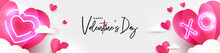 Valentines Day Modern Design For Website Banner, Sale, Valentine Card, Cover, Flyer Or Poster In Paper Cut Style With Cute Flying Origami Hearts Over Clouds And Neon Lighting Heart On White Background