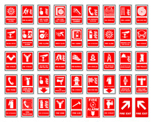 Set Of Fire Safety Collection Symbol Sign, Vector Illustration, Isolated On White Background Label .EPS 10