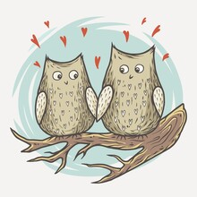 Lovers Owl On Branch With Valentines Love Heart