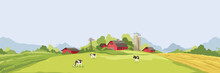 Abstract Rural Landscape With Farm House. Vector Illustration, Wheat Fields And Meadows. Harvest Time.