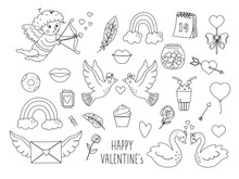 Vector Set Of Outline Saint Valentine's Day Symbols. Collection Of Cute Black And White Characters And Objects With Love Concept. Cupid, Doves, Hearts And Swans Isolated On White Background. .