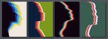 Vintage Color Silhouettes Of Female Faces, Vector Set
