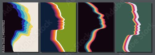 Fotografia Vintage Color Silhouettes of Female Faces, Vector Set