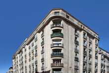 Detail Of Old Vintage Building At The Corniche In Marseille With Balcony