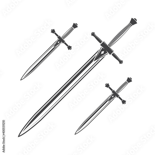 Slika na platnu Knife, dagger and sword isolated on the white background