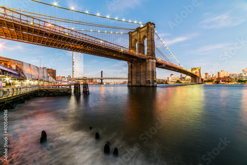 Brooklyn Bridge at sunset view. New York City, USA.