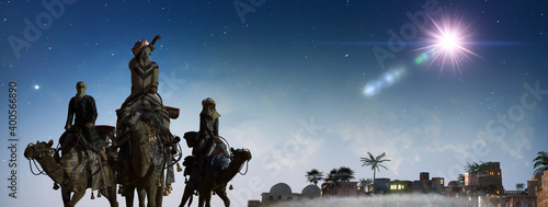 Fotografia Christian Christmas scene with the three wise men and shining star, 3d render