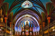 Altar And Ceiling At Notre-Dame Basilica Church In Montreal, Canada