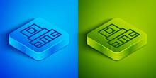 Isometric Line Mausoleum Of Lenin Icon Isolated On Blue And Green Background. Russia Architecture Landmarks, Sightseeing Places. Royal Citadel At Red Square, Moscow. Square Button. Vector.
