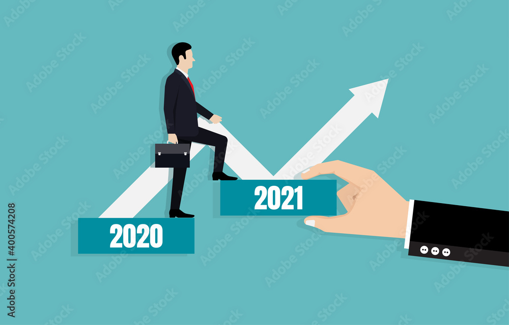 Fototapeta Businessman leads the way towards business goals in 2021