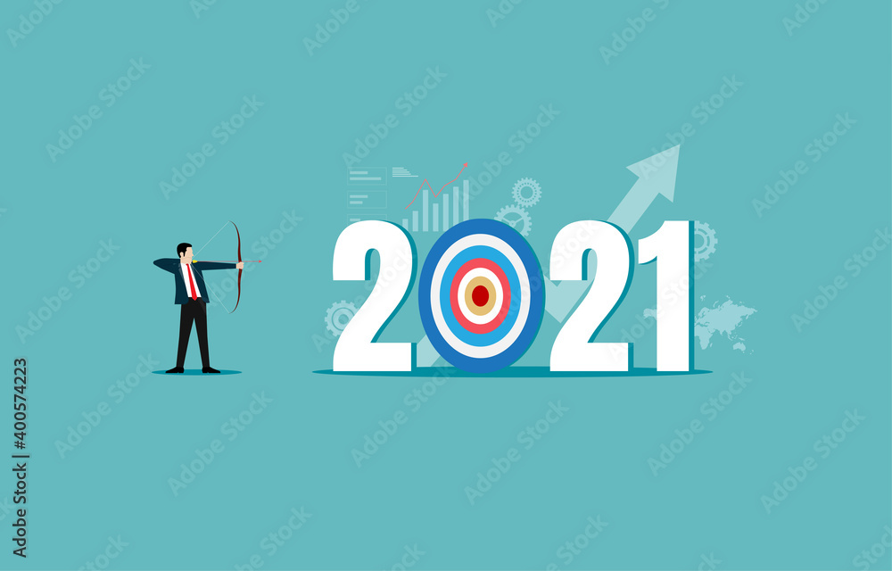 Fototapeta Businessman leader shooting archer of the target year 2021