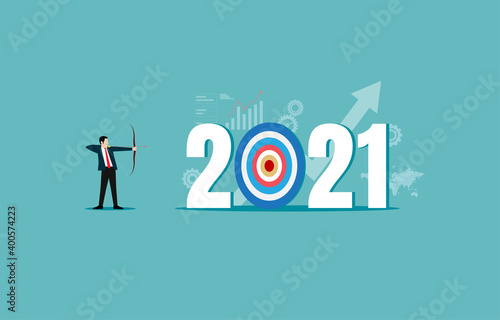 Foto Businessman leader shooting archer of the target year 2021