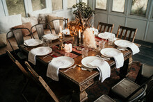 Fine Dining Table Settings In Vintage Historic Victorian Era Home