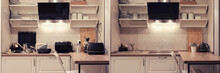 Modern Kitchen Before And After Cleaning And Washing Up Dirty Dishes. Clean And Cluttered Kitchen With A Breakfast Bar