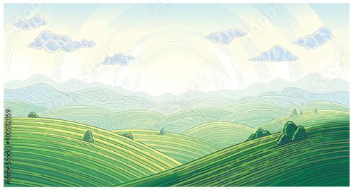 Fototapeta Summer landscape with hills,  mountains and sunrise over horizon, vector illustration. obraz