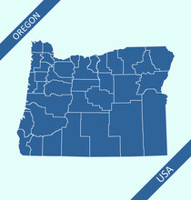 Oregon County Map Vector Outlines