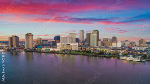 Fototapeta New Orleans, Louisiana, USA Downtown Drone Skyline Aerial obraz