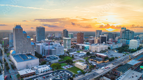 Orlando, Florida, USA Downtown Drone Skyline Aerial Wallpaper Mural