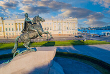 Symbols Of Saint-Petersburg. The Bronze Horseman Aerial View. Summer In Russia. Beautiful Sky Over The Monument To Peter 1 And The Neva. View Of The Center Of St. Petersburg From A Height.