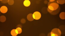 Abstract Circular Golden Sparkle Glitter Bokeh Flowing Movement On Dark Back, 4K Animation