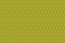 Rhombus Gold On Green Background Pattern, Vector Illustration, Abstract Gold Diamond Pattern