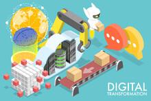 3D Isometric Flat Vector Conceptual Illustration Of Digital Transformation, Replacing Non-digital Or Manual Processes With Digital Processes.