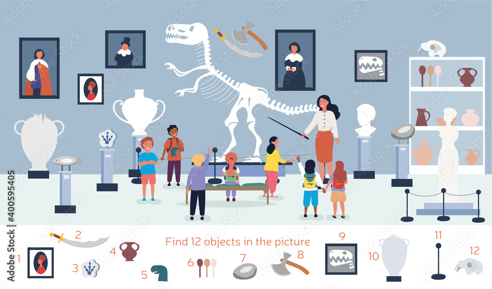 Fototapeta The guide telling children about exhibit in museum. Visitors viewing exhibits. Tourists looking at paintings at exhibition. Find 12 objects in the picture. Puzzle Hidden Items. Vector illustration