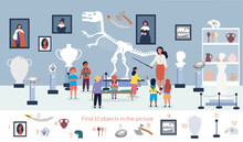 The Guide Telling Children About Exhibit In Museum. Visitors Viewing Exhibits. Tourists Looking At Paintings At Exhibition. Find 12 Objects In The Picture. Puzzle Hidden Items. Vector Illustration