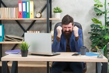 Hysterical Nervous Engineer In Business Suit Scream Of Negative Emotions At Office Desk, Hysterics