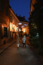 Two Girls Walking In The Night