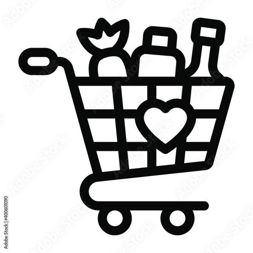 Fotografia, Obraz Vegetables inside handcart depicting grocery shopping icon