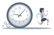 Concept Of Missing Deadline, Bad Time Management. Scene Of Tired, Nervous, Stressed Female At Work. Sad Businesswoman Running Away From A Big Clock . Big Fail. Flat Vector Cartoon Illustration
