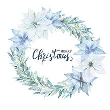 Watercolor Christmas Wreath. Winter Frame With Branch Eucalyptus And Sky Blue Poinsettia. Hand Drawn Vintage Illustration On White Background