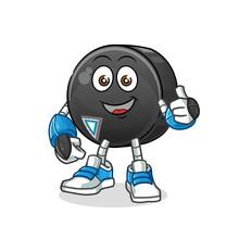 Hockey Puck Robot Character. Cartoon Mascot Vector