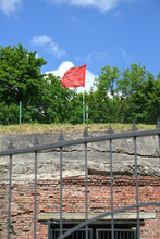 KALININGRAD, RUSSIA. Red Flag At Fort No. 5 King Frederick William III