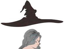 Portrait Of A Beautiful Girl Witch With Piercing, Curly Gray Hair And Flying Cone-shaped Hat. Vector Illustration