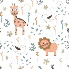 Seamless Kids Pattern With Giraffe, Lion And Birds. Seamless Kids Animal Pattern With Hand Life And Hearts. Scandinavian For Fabric Design Pattern, Wrapping Paper, Wallpaper, Background