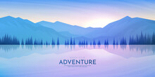 Vector Illustration. Polygonal Design. Minimalist Wallpaper. Flat Background. Landscape With Trees Near Water. Triangle Shapes. Mountain Ridge. Gradient Color. Tourism And Travel Concept.